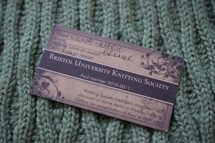Bristol University Knitting Society student card