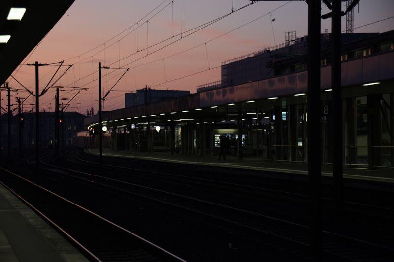 Hannover Hauptbahnhof Sonnenaufgang