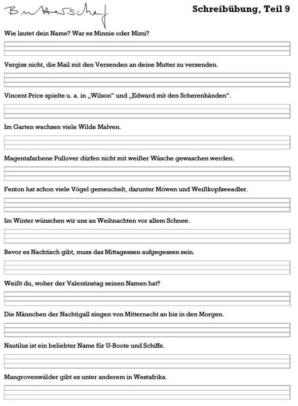 Schreibübung Sütterlin Download