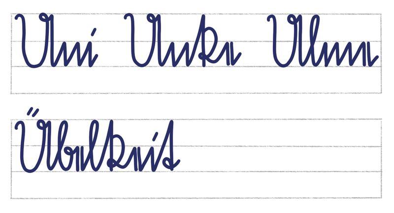 Sütterlinbuchstaben U und Ü