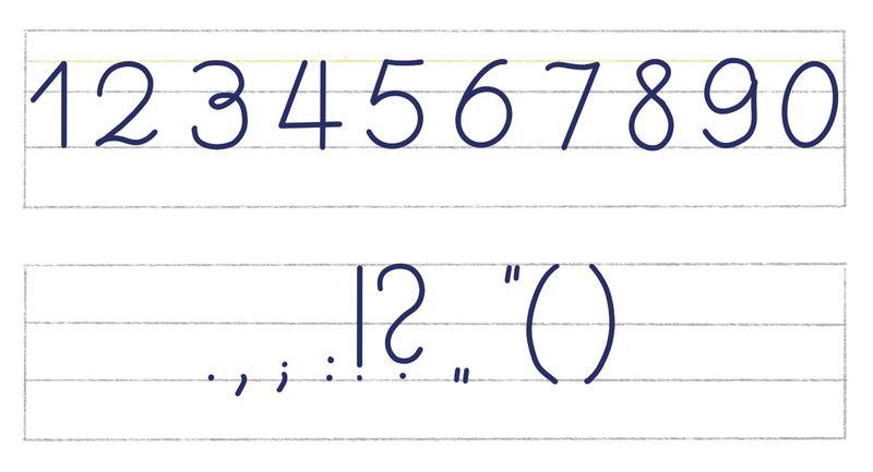 Sütterlin-Zahlen und -Zeichen