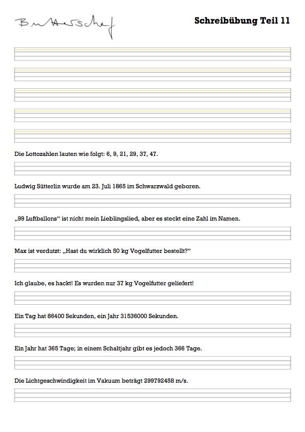 Vorschau Schreibübung Sütterlin-Zahlen und Zeichen
